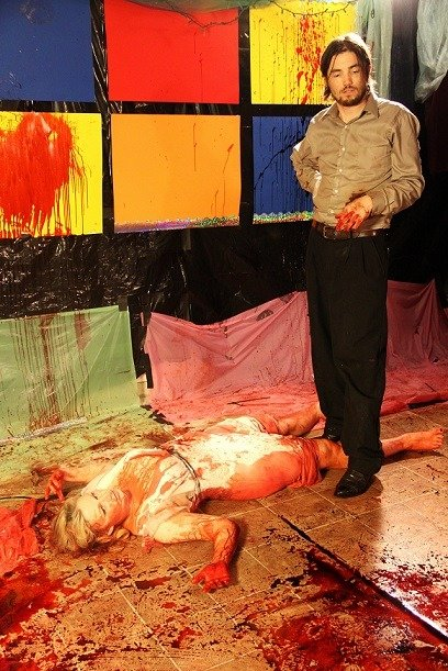 Director-actress-Jessica-Cameron-and-actor-Ryan-Kiser-rehearse-a-bloody-scene