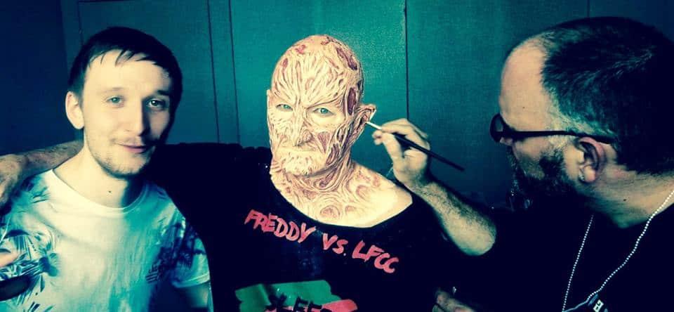 Sean Evans with Robert Englund as his freddy makeup is being applied by Robert Kurtzman