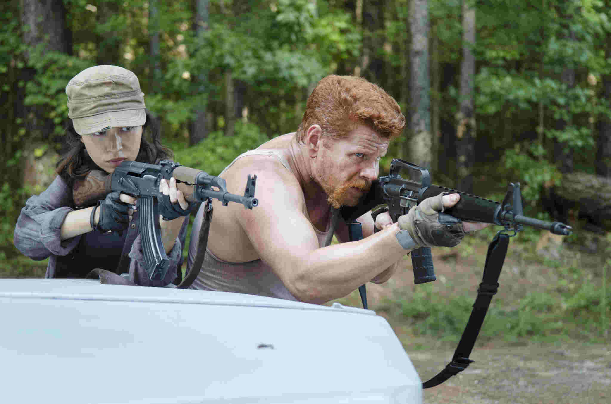 Christian Serratos as Rosita Espinosa and Michael Cudlitz as Abraham - The Walking Dead _ Season 5, Episode 11 - Photo Credit: Gene Page/AMC