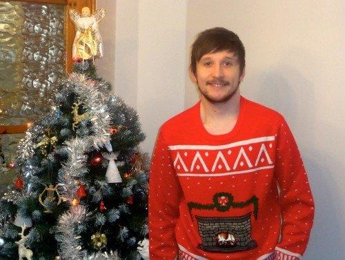 Sean Evans wearing Morphsuits Christmas Jumper.