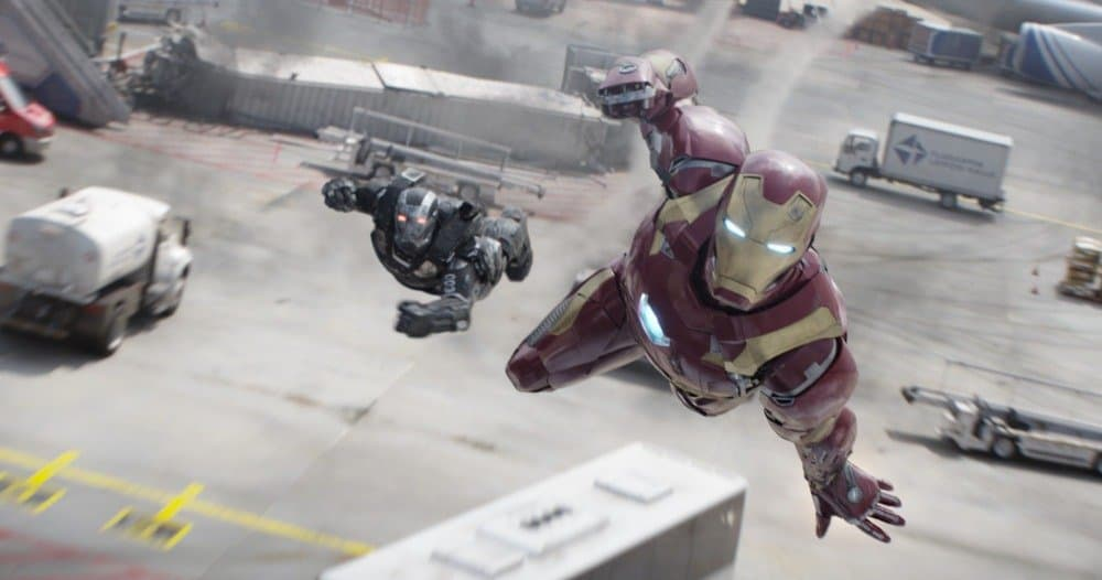 Marvel's Captain America: Civil War..L to R: War Machine/James Rhodes (Don Cheadle) and Iron Man/Tony Stark (Robert Downey Jr.)..Photo Credit: Film Frame..© Marvel 2016