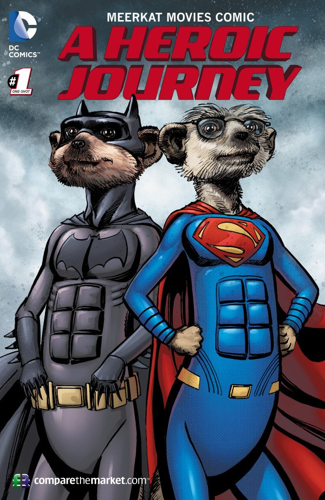 DC Comic book legend Neal Adams illustrates well known meerkats in first brand partnership of its type in UK.