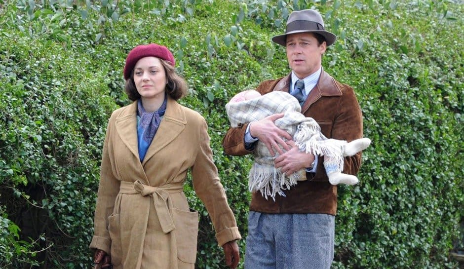 "Photo by: KGC-160/STAR MAX/IPx 2016 3/31/16 Brad Pitt and Marion Cotillard on the set of ""Five Seconds of Silence"" filming on Hampstead Heath. (London, England, UK)"